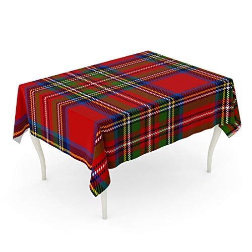 Tarolo Rectangle Tablecloth 60 x 84 Inch Red Check Scottish Plaid in Classic Colors Royal Stewart Tartan Pattern Clipping Mask Blue Kilt Table Cloth (Plaid Stewart Tablecloth)