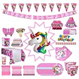 Unicorn Party Supplies Pack, Comes Disposable Tableware Birthday Party Decoration Set, Serve 10, All-in-One Value Kit…