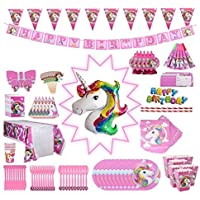 Unicorn Party Supplies Pack, Comes Disposable Tableware Birthday Party Decoration Set, Serve 10, All-in-One Value Kit, Perfect Kids. Includes 16 Varieties 139 Pieces