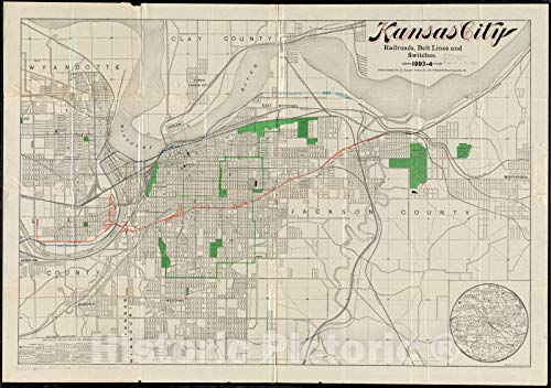 Vintage Map | Kansas City railroads, belt line and switches : 1893-4 | Vintage Wall Art | 44in x 31in