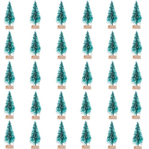 Haiabei 30 Pcs Mini Christmas Trees Plastic Frosted Sisal Trees with Wood Base for DIY Crafting,Displaying and Desktop Home Decoration Christmas Decoration - Mini Sisal Trees