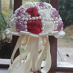 USIX Handcraft Popular Satin Rose Rhinestone Brooch Flower Pearl Bridal Holding Wedding Bouquet Wedding Flower Arrangements Bridesmaid Bouquet 1