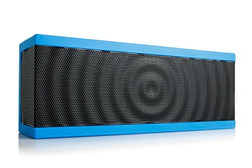 SoundBlock Custom Bluetooth Wireless Stereo Speaker for Computers and Smartphones. Bluetooth 3.0 Technology with Built-in Speakerphone and 10 Hour Rechargeable Battery. In Blue/Black