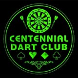4x ccts2324-g CENTENNIAL Dart Club Game Room Bar Beer 3D Engraved Drink Coasters