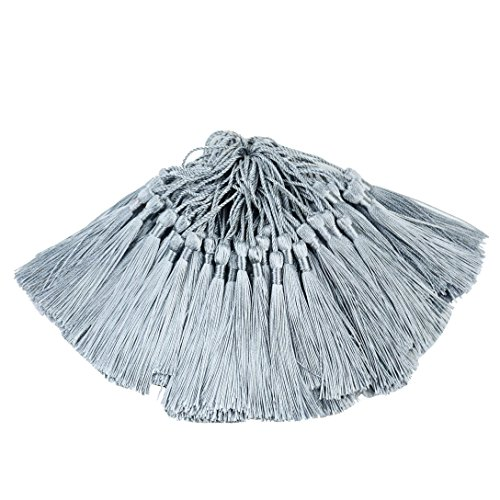 100pcs 13cm/5 Inch Silky Floss Bookmark Tassels with 2-Inch Cord Loop and Small Chinese Knot for Jewelry Making, Souvenir, Bookmarks, DIY Craft Accessory (Grey)