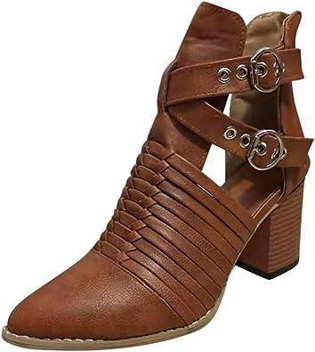 YGbuy Botas Tacon Zapato Mujer Tacon Ancho Zapatos señora Invierno ...