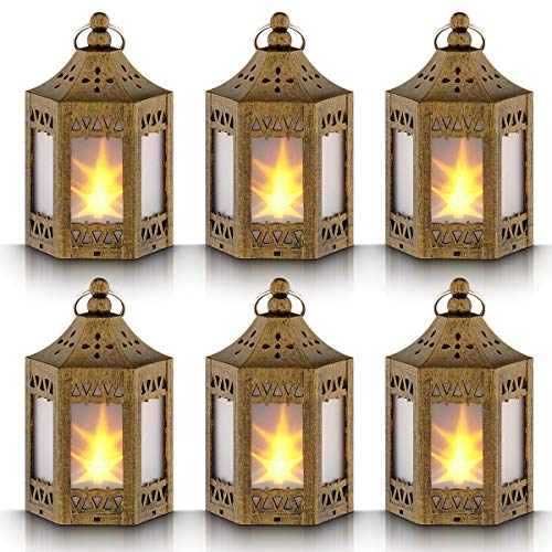 Mini Star Lantern with Flickering LED,Battery Included,Decorative Hanging Lantern,Christmas Decorative Lantern,Indoor Candle Lantern,Battery Lantern Indoor Use,Zkee(Set of 6 Copper Brushed) -