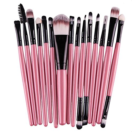 Professional Makeup Brush Set Pro Cosmetic 15 pcs Studio Pro Makeup Make Up Cosmetic Brush Set (pink)