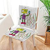 Mikihome 2 Piece Set Cushion Robot with Lets Dance Quote Electric Friendly Cyborg Character Kids Doodle Style Includes Seat and Backrest Mat:W17 x H17/Backrest:W17 x H36