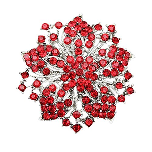 SANWOOD Flower Cluster Rhinestones Round Blossom Crystal Silver Plated Brooches Pin (Red)