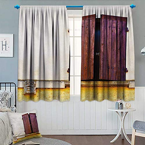 Chaneyhouse Country Thermal Insulating Blackout Curtain Image of Old Style French Window Shutters Medieval European Culture Inspired Print Patterned Drape for Glass Door 55