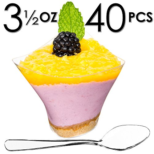 DLux Mini Dessert Cups, Triangular Appetizer Bowls & Spoons & Recipe e-Book [Clear Plastic, 3.5 oz Triangle Swirl Small, 40 Count] Catering Supplies Disposable Tasting Glasses, Parfait Tumbler -