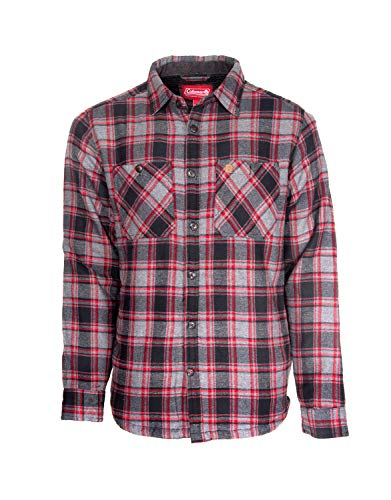Coleman Cotton Flannel Shirt Jackets for Men with Sherpa Interior (X-Large, Grey Black ()