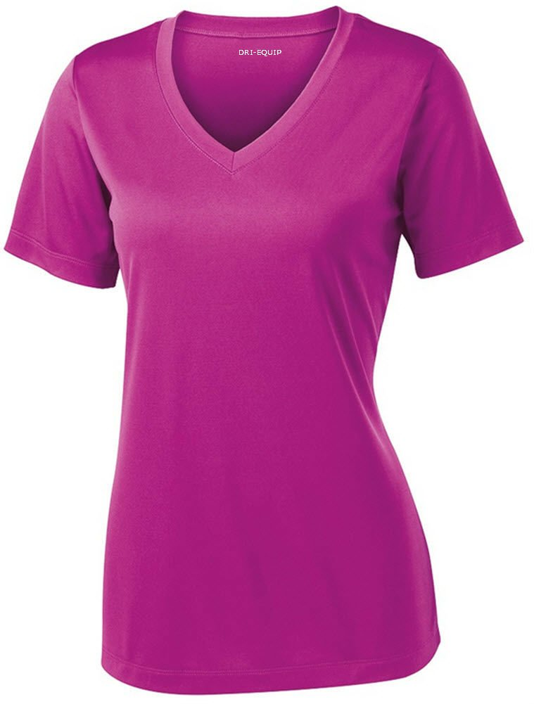 Women's Short Sleeve Moisture Wicking Athletic Shirt-PinkOrchid-L by Joe's USA