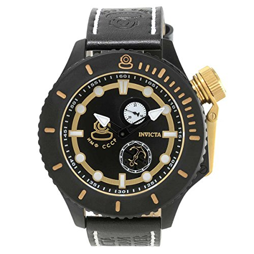Invicta 22015 Men's Russian Diver Quartz Black Leather St...