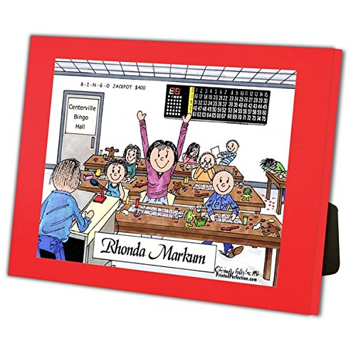 Personalized Friendly Folks Cartoon Caricature in a Color Block Frame Gift: Bingo Player- Female Great for bingo player, gambler by Printed Perfection