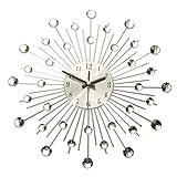 Diamante Crystal Effect Jeweled Sunburst Silver Wire Wall Clock