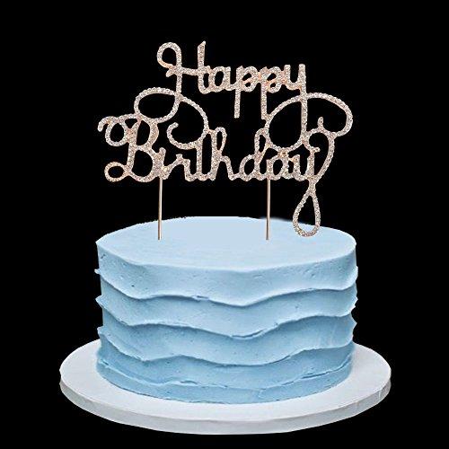 (Happy Birthday Rhinestone Cake Topper, for 10th-20th-30th-40th-50th Birthday Party)