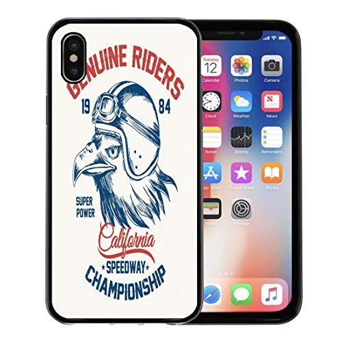 (Semtomn Phone Case for Apple iPhone Xs case,Graphic Motorcycle Eagle and Helmet-Shirt Tee California American for iPhone X Case,Rubber Border Protective)
