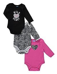 "Bon Bebe Baby Girls' ""Leopard Heart"" 3-Pack Bodysuits"