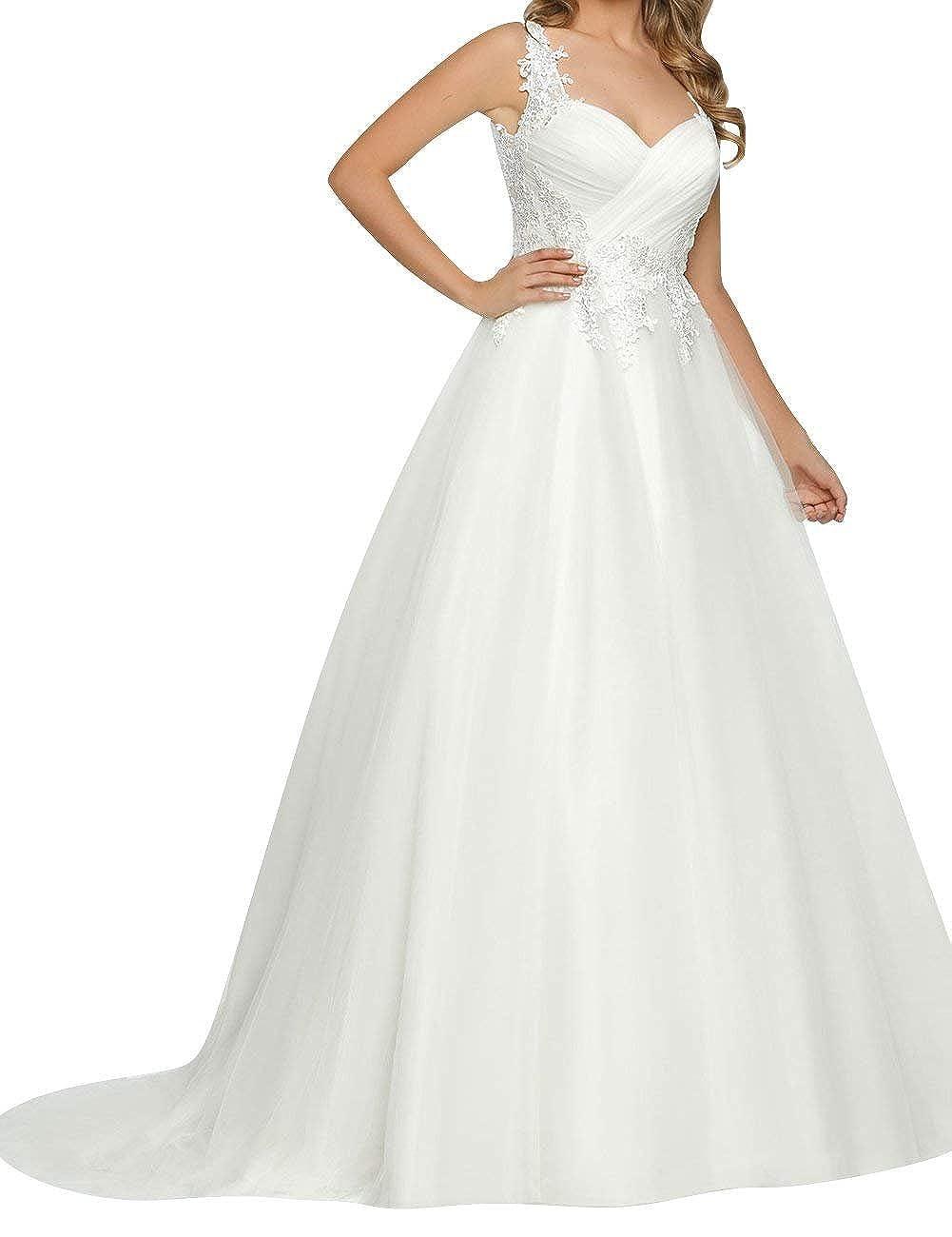 Brautkleid Hochzeitskleider Vintage Lang A Linie Damen Kleid