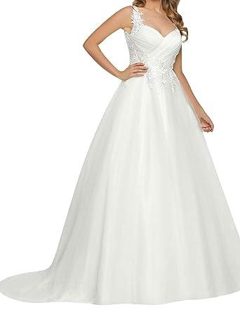 Brautkleid Hochzeitskleider Vintage Lang Damen Prinzessin Tull
