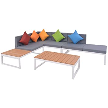 vidaXL Sofás de Esquina Jardín 19 Pzs Aluminio Muebles ...