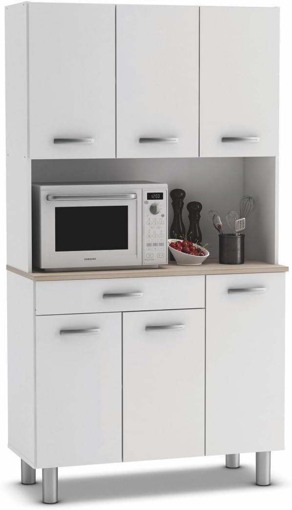Armario alacena buffe aparador de Cocina con 6 Puertas. Blanco y Roble. para Almacenamiento de menaje.