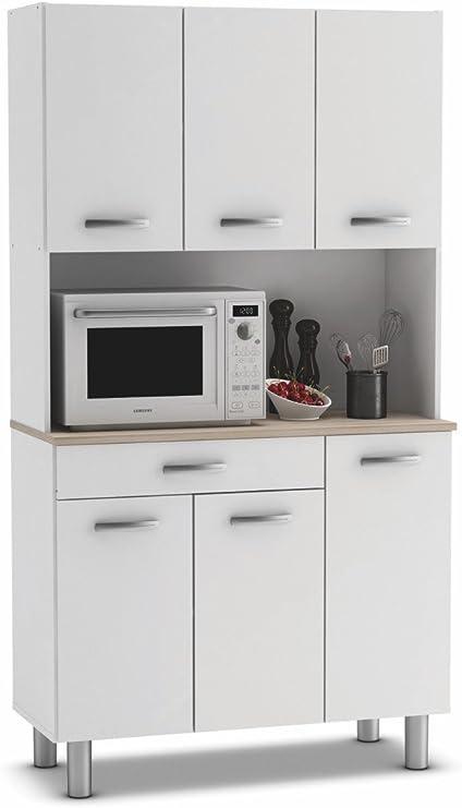 Armario alacena buffe aparador de Cocina con 6 Puertas. Blanco y ...