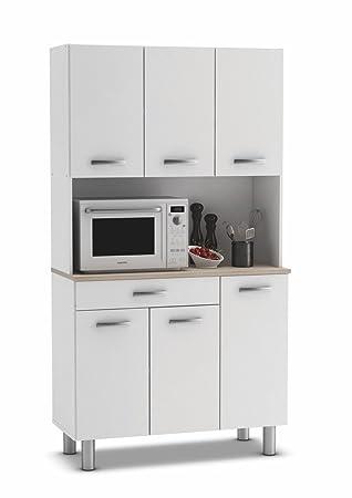 armario alacena buffe aparador de cocina con puertas blanco y roble para