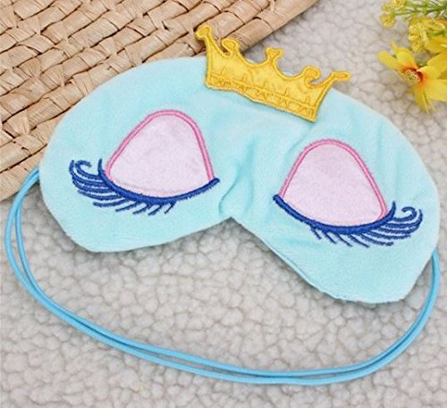 Color: Blue Princess Crown Sleep Eye Mask Eyes Cover Travel Sleeping Eyelash Blindfold Shade Pink Blue by STCorps7 by STCorps7