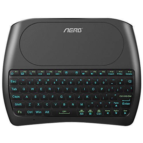 ((2018 D8 Pro) Aerb Backlit Mini Wireless Keyboard with Large Touchpad Mouse, Rechargable Li-ion Battery & Multi-Media Handheld Remote for PC/Google Android TV Box and More)