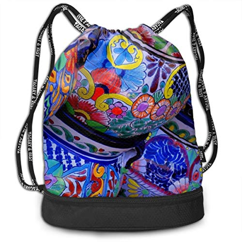 (Girls Boys Drawstring Bag Theft Proof Lightweight Beam Backpack, Swim Shoulder Backpack - Novel Beautiful Bowl Colorful Pottery Prints Water Resistant Backpack Soccer Basketball Bag)