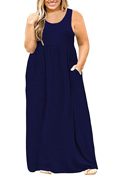 Yskkt Womens Plus Size Tank Maxi Dresses Sleeveless T Shirt Casual Summer  Plain Long Dress with Pockets