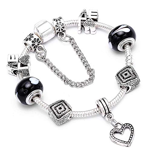 - Lishfun Romantic DIY Charm Bracelet Heart Key Pendant Beads Fine Bracelet for Women Couple Jewelry, R011,17cm
