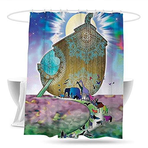 huangfuzz Mystic Shower Curtain Noahs Ark Myth Themed Big Ship with All Couple Animals on Shore Sacred Picture Graphic Shower Curtains in Bath 70in×70in Multi