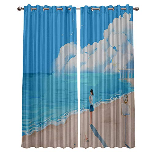 """Blackout Window Curtain Panels - 2 Panels Thermal Curtain Drapes Insulated Window Treatments for Bedroom Living Room Kitchen,Illustration Beach Blue Sky Seaside Girl 52"""" x 96"""""""
