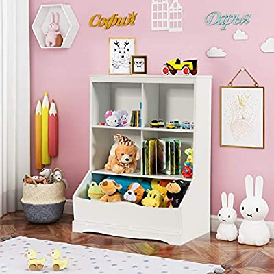Giantex Cubby Toy Organizer, Wood Storage Cabinet, 3 Shelf 4 Cube Units, Storage Bins Cubbies for Kids' Collections (White): Baby