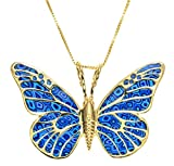 "Gold Plated Sterling Silver Butterfly Necklace Handmade Polymer Clay Pendant, 16.5"" Gold Filled Chain"
