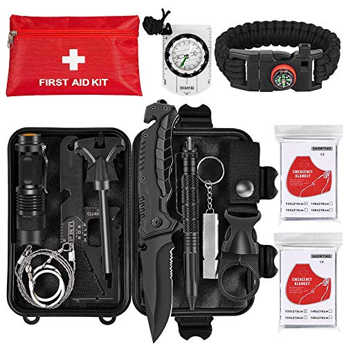 Napasa Emergency Survival Kit 45 in 1 Outdoor Survival Gear Tool and First Aid Kit, Survival Bracelet, Emergency Blanket, Compass, Multi-Purpose EDC Outdoor Gear for Camping Hiking Climbing