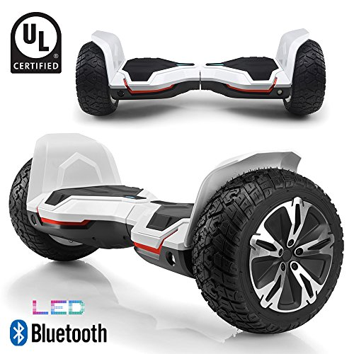 BornTech UL2272 Certified All Terrain 8.5' Wheels Off Road Hoverboard Electric Scooter Smart Self-Balancing Hover Board with Built-in Bluetooth Speaker and LED Light (White)