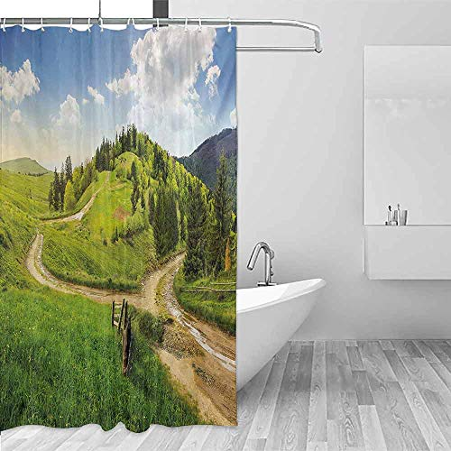 Xlcsomf Sliding Shower Curtain Landscape Hillside Meadow Cloudy Sky Fence Near The Cross Road with Fir Trees on Both Sides Easy to Care Green Blue,W36 xL72