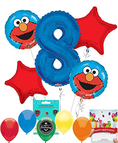 Elmo Party Supplies Sesame Street Balloon Decoration Bundle with Birthday Card for 8th Birthday -