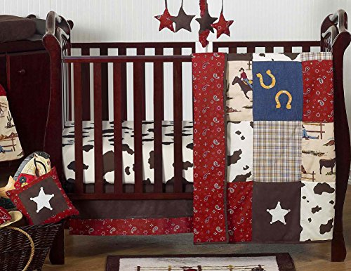 (Sweet Jojo Designs 11-Piece Wild West Western Horse Cowboy Baby Boy Bedding Crib Set Without Bumper)