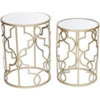 Adeco Classic Side Nesting Table Set (2 Pcs)-Gold, Gold