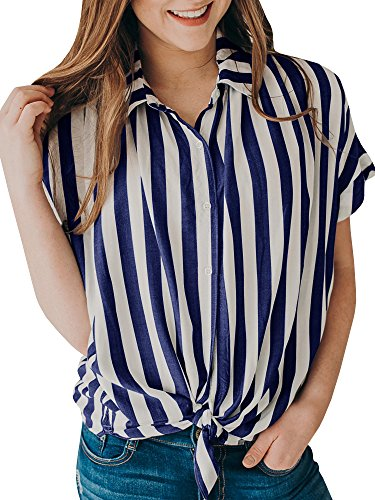 Women's Summer Striped Button Up Tie Front Shirt Casual Loose Short Sleeve Tops]()