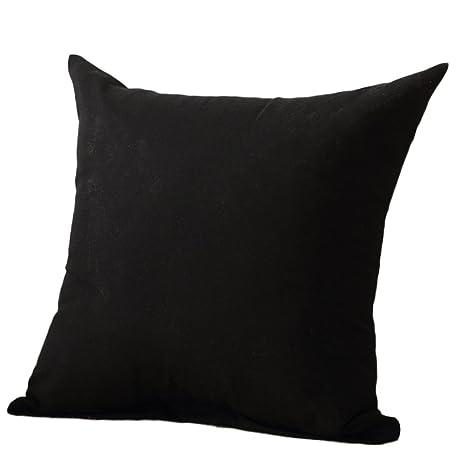 BIGBOBA. Fundas de cojín de colores lisos para sofás, camas y decoración del hogar 45 x 45 cm, negro