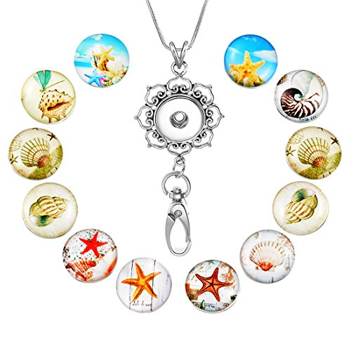 - Souarts Womens Office Lanyard ID Badges Holder Necklace with 12pcs Snap Charms Jewelry Pendant Clip (Sea Star)