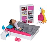 The New York Doll Collection Modern Bedroom Furniture Set for Baby Dolls Color Pink Fit for 18 Inch