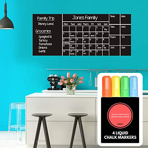 "Wall Calendar Chalkboard Dry Erase Calendar (X Large 53""x 22"") Monthly - Weekly Organizer - Drawing Board - 4 Liquid Markers & Eraser - 2019 Planner for Family Activities - Chores - School - Work"